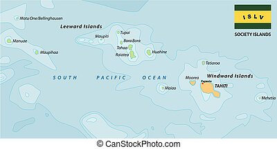 society islands vector map with flag