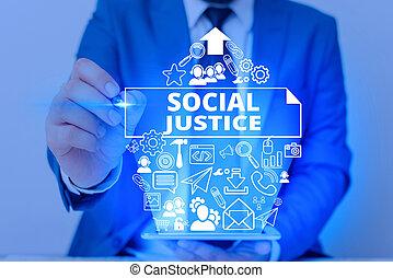 society., kezezés írás, fénykép, szöveg, társadalmi, kiállítás, egyenlő, fogalmi, előjogok, justice., belül, vagyon, belépés, ügy