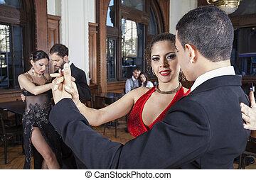 socio, amaestrado, mujer, tango, confiado