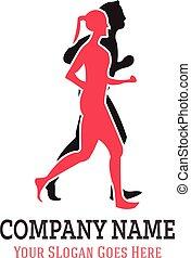 socio, correndo, logotipo