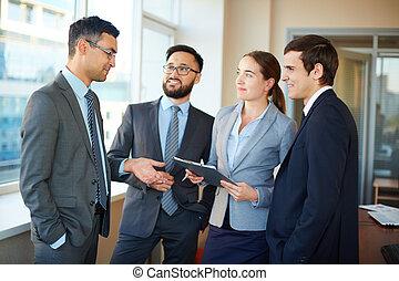 socio, escuchar, empresa / negocio