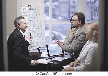 socios, aplaudiendo, presentación negocio, financ, nuevo
