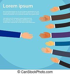 socios, apretón de manos, grupo, empresarios, manos, una ...