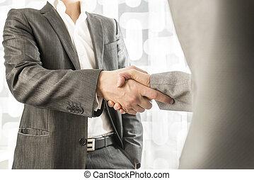socios, empresa / negocio, político, acuerdo, hembra, Manos, macho, sacudida, o