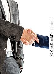 socios, empresa / negocio, Primer plano, hembra, Manos, macho, sacudida