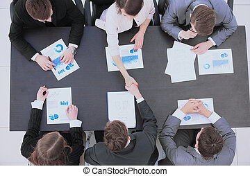 socios, financ, empresa / negocio, discusión, después, manos...