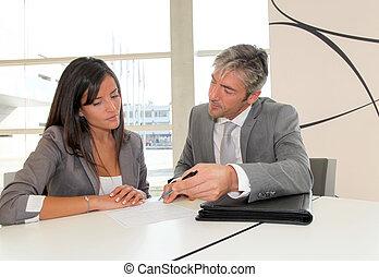 socios, firma, contrato negocio