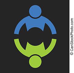 socios, teaming, dos, logotipo