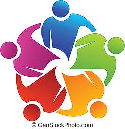 socios, trabajo en equipo, logotipo
