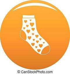 Sock with heart icon vector orange