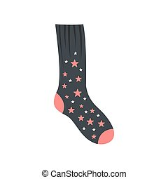 Sock with star icon, flat style