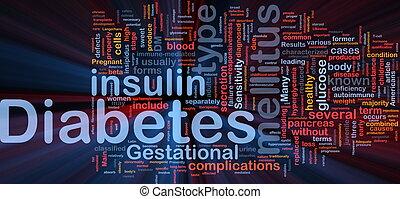 sockersjuka, sjukdom, bakgrund, begrepp, glödande