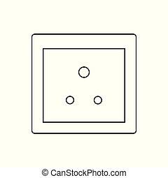 socket., プラグ, ac, d, 力, 国, インド, icon., タイプ, ソケット