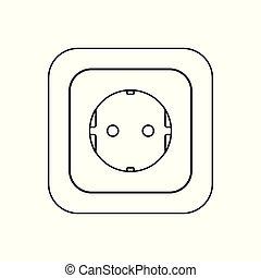 socket., プラグ, ac, e, ソケット, 力, 国, 組合, ドイツ, icon., タイプ, ヨーロッパ