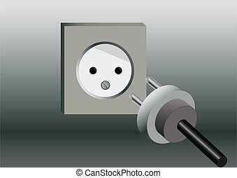 drawn socket and lying near Plug on gray