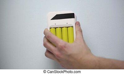 socket., batterie, plugget, mur, chargeur