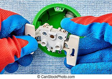 socket., cassé, remplace, électricien, électrique