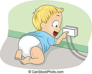 Socket Cover - Illustration of a Baby Boy Touching a Covered...