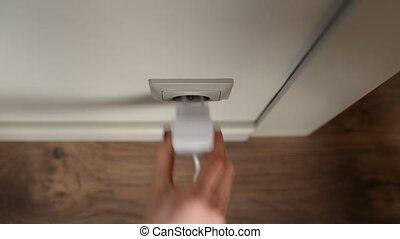 socket., fermé, alimentation énergie, branché, électrique, ...