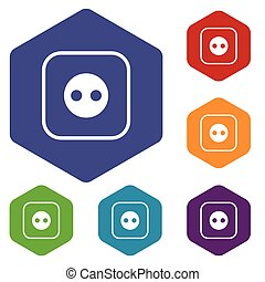 Socket hexagon icon set - Colored set of hexagon icons with...