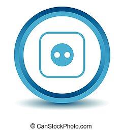 Socket icon, blue, 3D