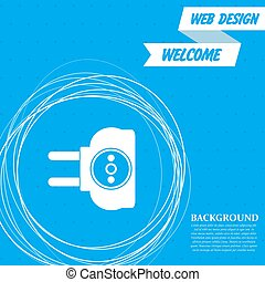 socket icon on a blue background with abstract circles around and place for your text. Vector