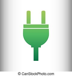 Socket sign. Green gradient icon on gray gradient backround.