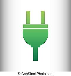 Socket sign. Green gradient icon on gray gradient backround.