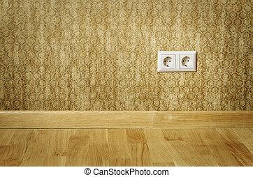 Socket - Double Socket In The Wall Of An Empty Room