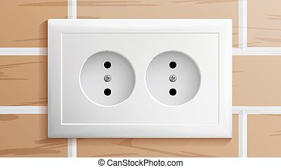 Socket Vector. Double Grounded Power Switch. Plastic Standard Panel. Brick Wall. Realistic Illustration