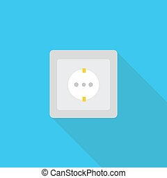 Socket vector icon in flat style with long shadow.