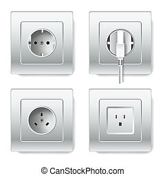 Sockets and electric plugs vector 3D cions
