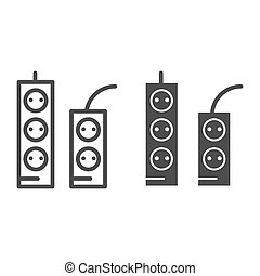 Sockets and tees line and glyph icon. Socket extension vector illustration isolated on white. Electricity connector outline style design, designed for web and app. Eps 10.