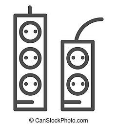Sockets and tees line icon. Socket extension vector illustration isolated on white. Electricity connector outline style design, designed for web and app. Eps 10.