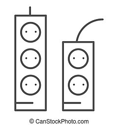 Sockets and tees thin line icon. Socket extension vector illustration isolated on white. Electricity connector outline style design, designed for web and app. Eps 10.