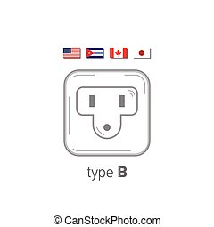 Sockets icon. Type B. AC power sockets realistic illustration. Different type power socket set, vector isolated icon illustration for different country plugs.