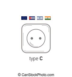 Sockets icon. Type C. AC power sockets realistic illustration. Different type power socket set, vector isolated icon illustration for different country plugs.