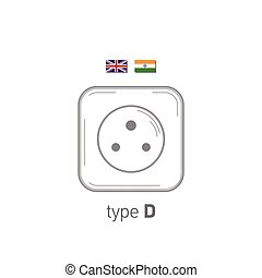 Sockets icon. Type D. AC power sockets realistic illustration. Different type power socket set, vector isolated icon illustration for different country plugs.