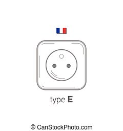 Sockets icon. Type E. AC power sockets realistic illustration. Different type power socket set, vector isolated icon illustration for different country plugs.