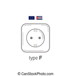 Sockets icon. Type F. AC power sockets realistic illustration. Different type power socket set, vector isolated icon illustration for different country plugs.