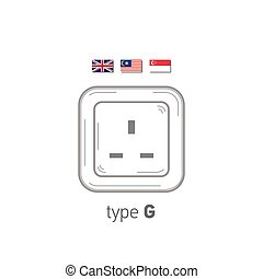 Sockets icon. Type G. AC power sockets realistic illustration. Different type power socket set, vector isolated icon illustration for different country plugs.