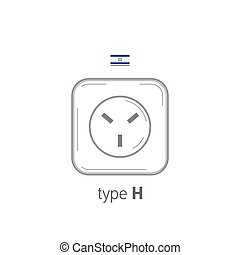 Sockets icon. Type H. AC power sockets realistic illustration. Different type power socket set, vector isolated icon illustration for different country plugs.