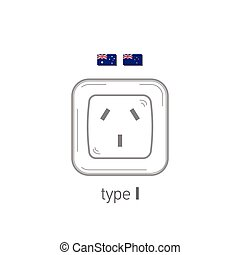 Sockets icon. Type I. AC power sockets realistic illustration. Different type power socket set, vector isolated icon illustration for different country plugs.