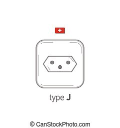 Sockets icon. Type J. AC power sockets realistic illustration. Different type power socket set, vector isolated icon illustration for different country plugs.