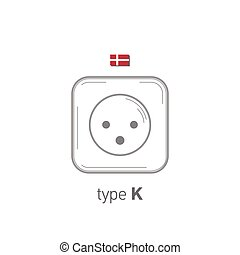 Sockets icon. Type K. AC power sockets realistic illustration.