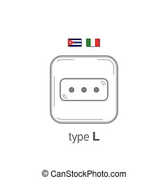 Sockets icon. Type L. AC power sockets realistic illustration. Different type power socket set, vector isolated icon illustration for different country plugs.