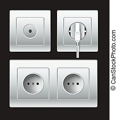 Sockets types or electric plug outlets vector icon