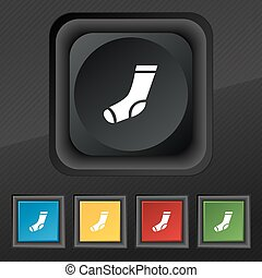 socks icon symbol. Set of five colorful, stylish buttons on black texture for your design. Vector