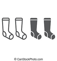 Socks line and glyph icon, clothes and fashion, hosiery sign, vector graphics, a linear pattern on a white background.