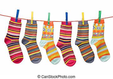 socks on the clothesline - child clothesline with socks,...